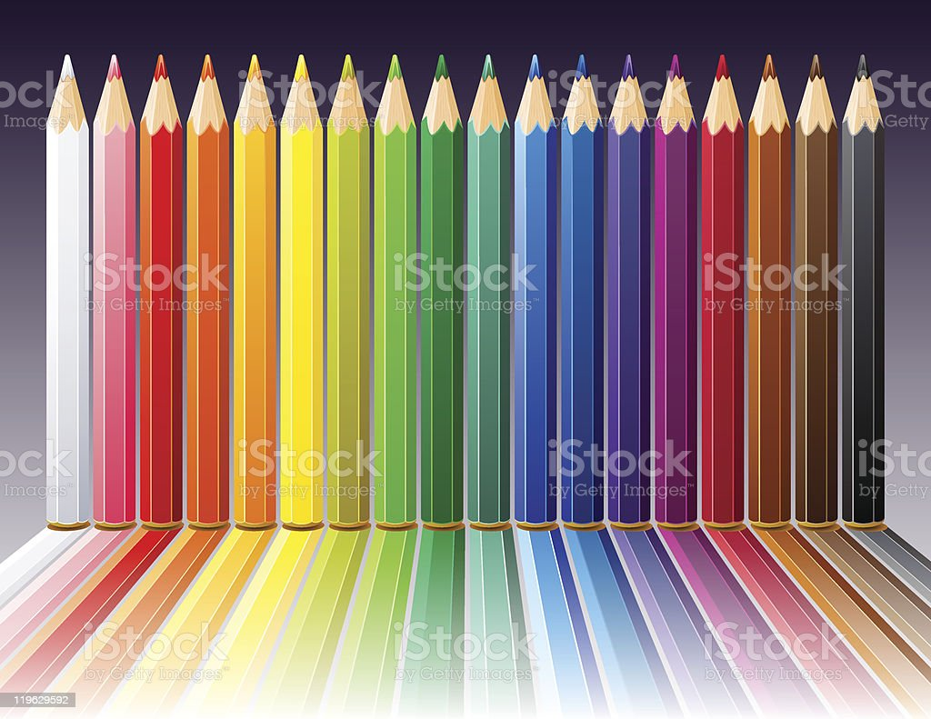 Background with color pencils royalty-free stock vector art