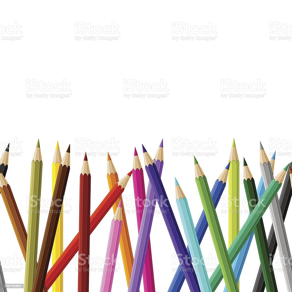 Background with colored pencils. Vector seamless pattern. royalty-free stock vector art