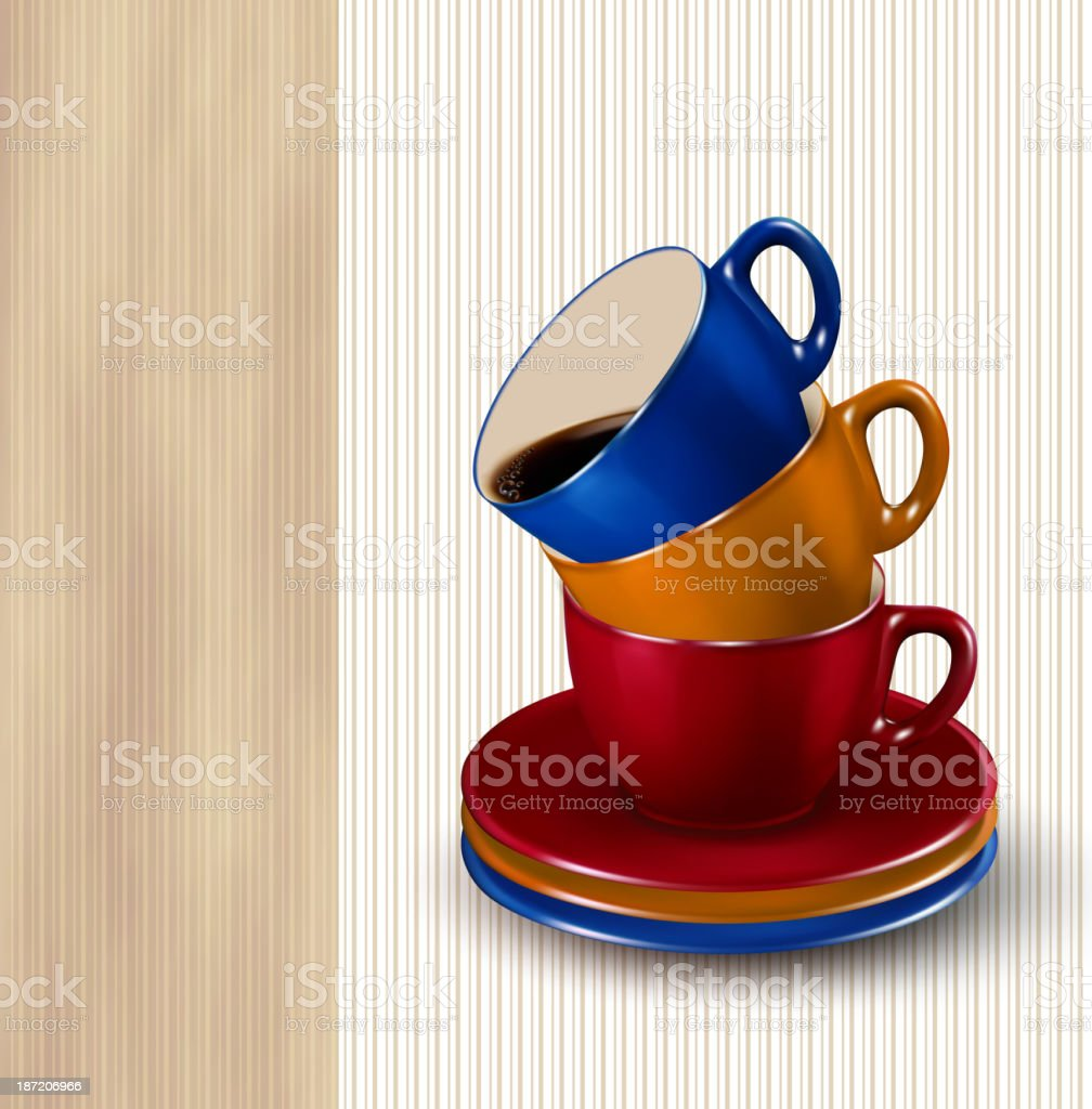Background with colorful cups of coffee. royalty-free stock vector art