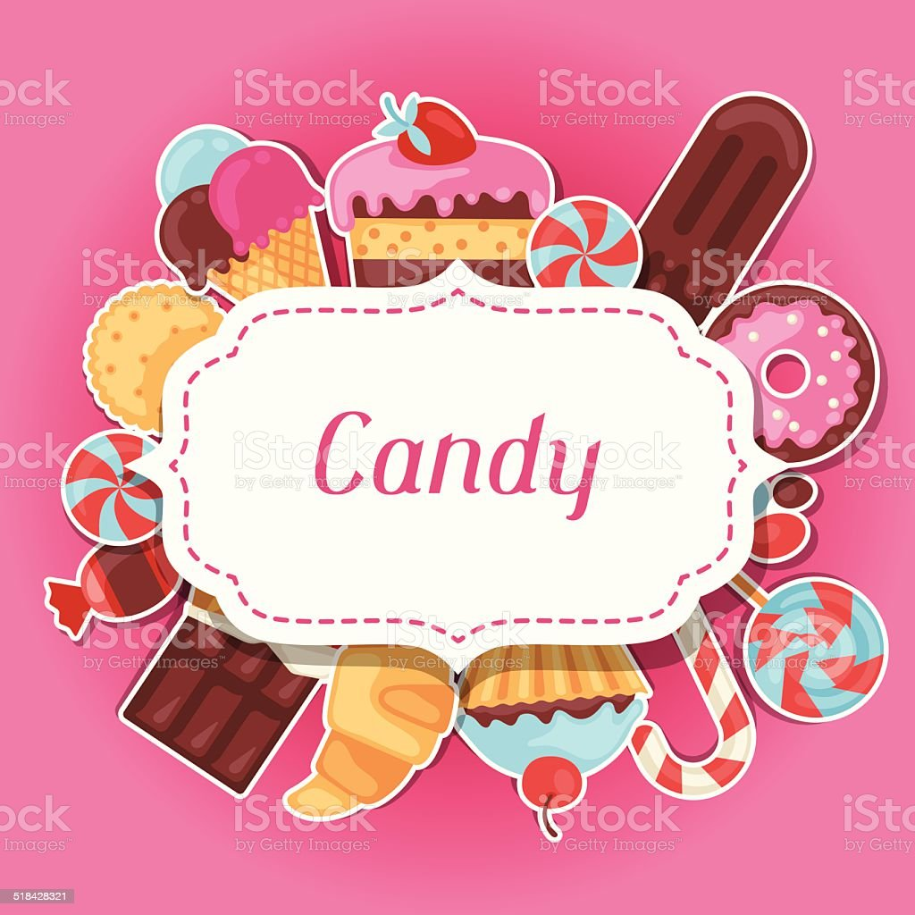 Background with colorful sticker candy, sweets and cakes. vector art illustration