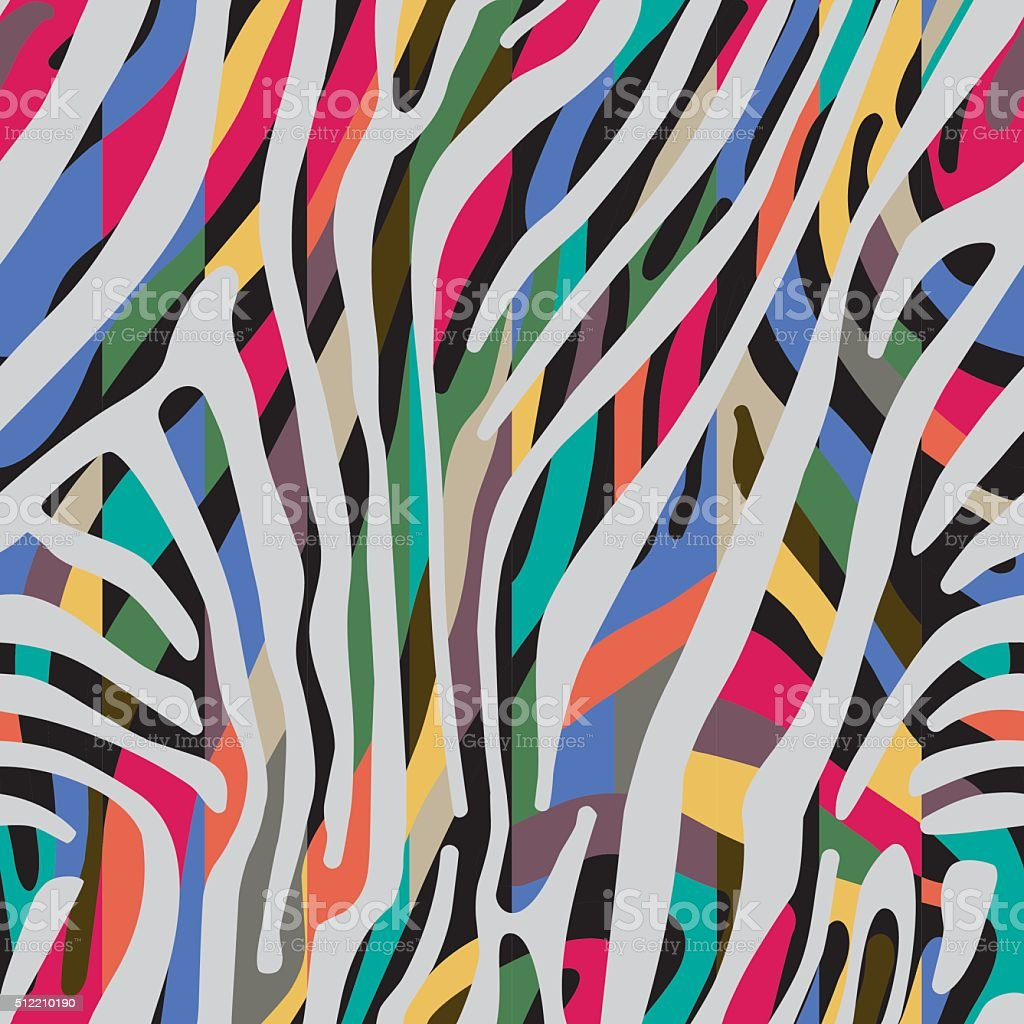 Background with colorful Zebra skin pattern vector art illustration
