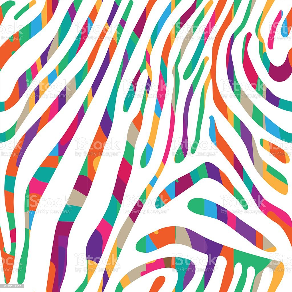 Background with colorful Zebra skin pattern vector art illustration