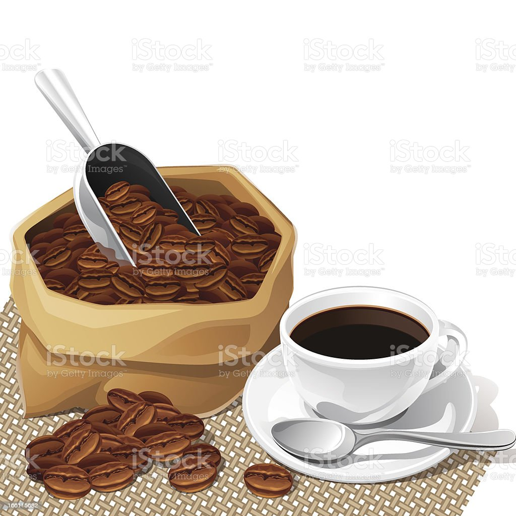Background with cup and bag of coffee beans. vector art illustration