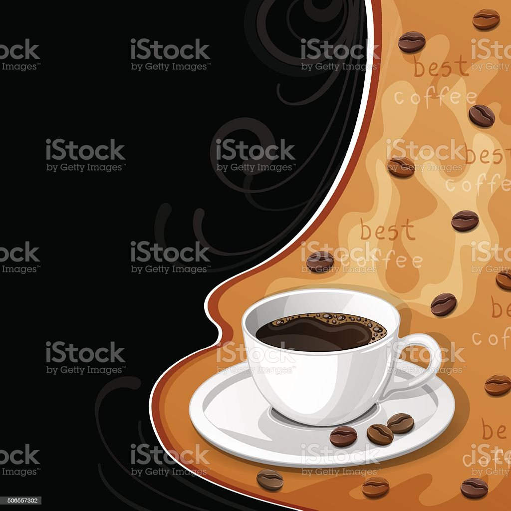Background with cup of coffee and beans. vector art illustration