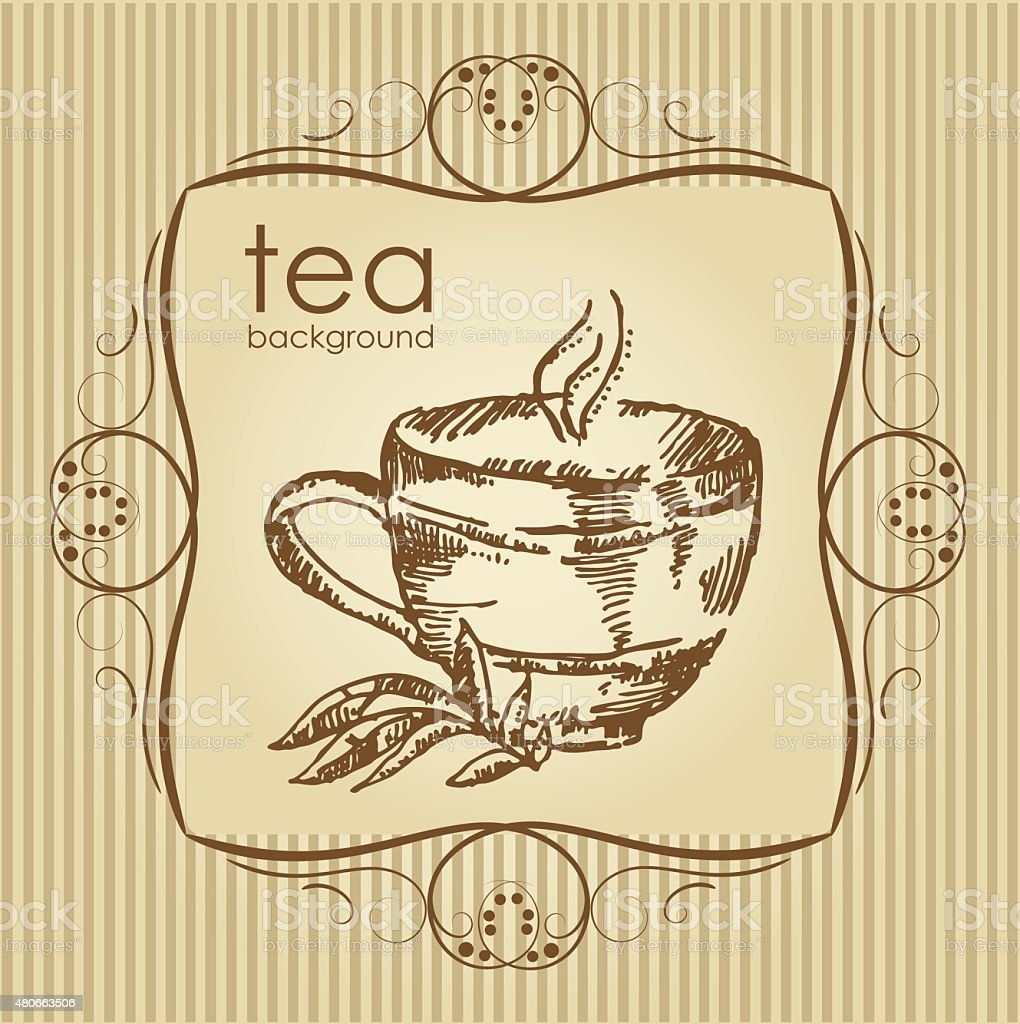 Background with cup of tea. hand drawn. vector art illustration