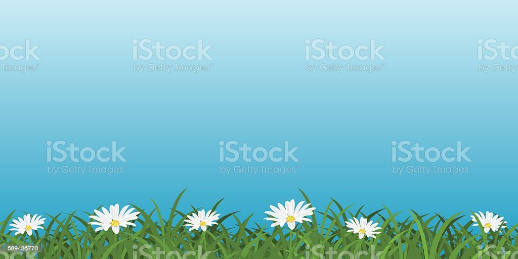 Background With Daisies vector art illustration