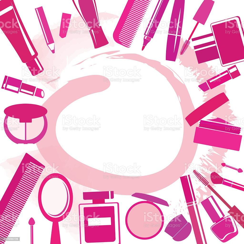 Background with different make-up items and blobs vector art illustration