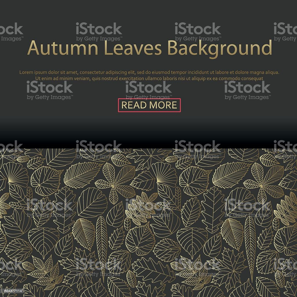 Background with different tree leaves vector art illustration