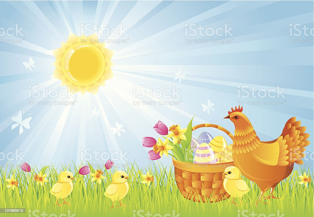 Background with Easter symbols royalty-free stock vector art