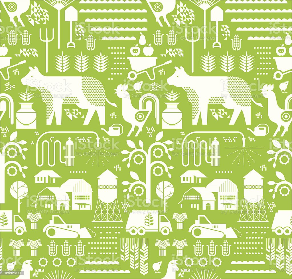 Background with farm silhouettes royalty-free stock vector art