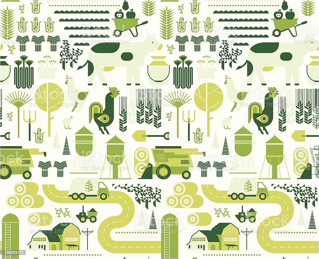 Background with farm silhouettes vector art illustration
