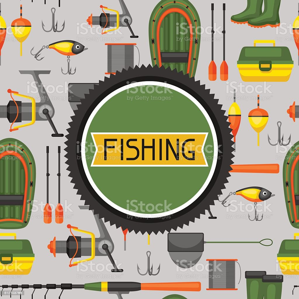Background with fishing supplies. Design for flayers, covers, brochures and vector art illustration