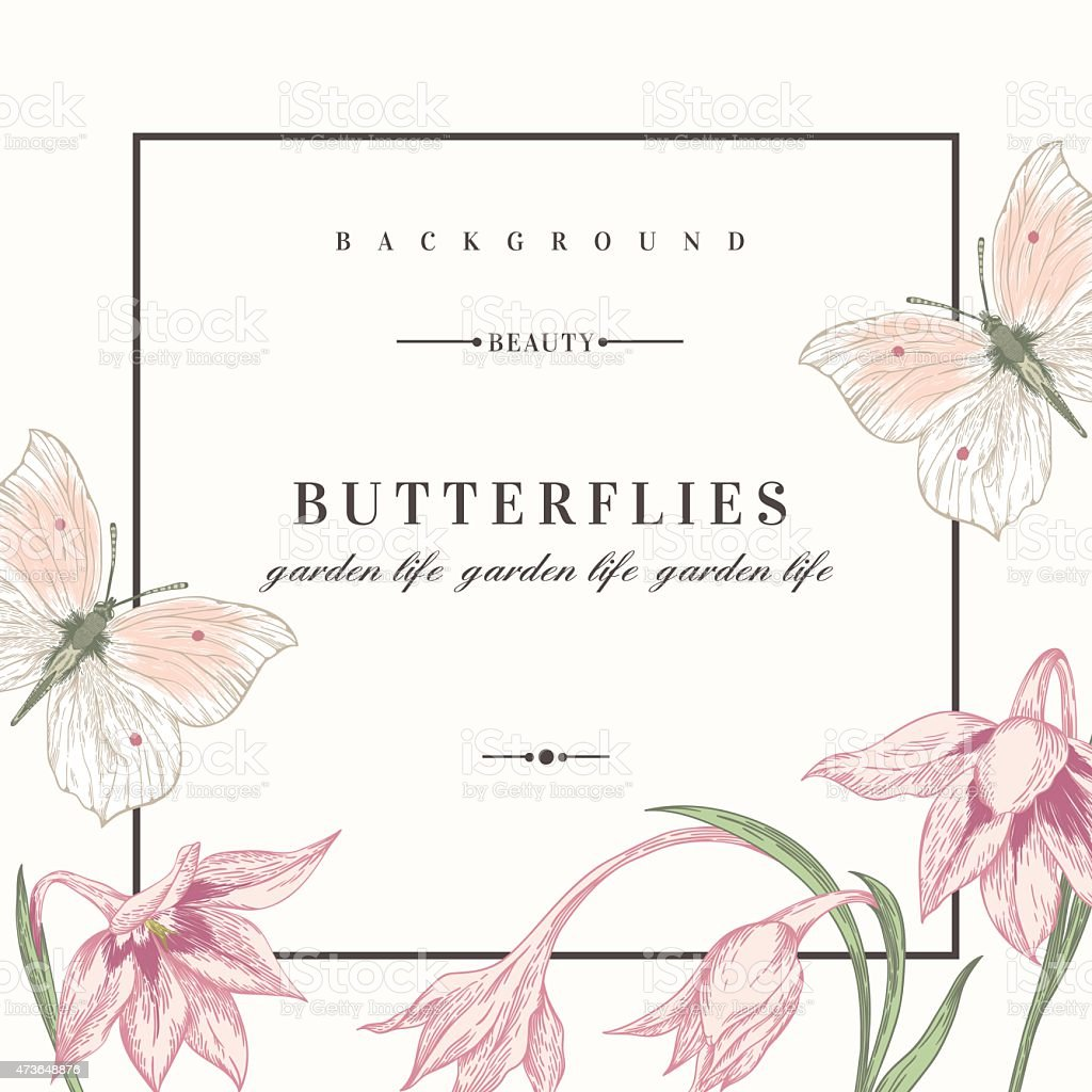 Background with flowers and butterflies. vector art illustration