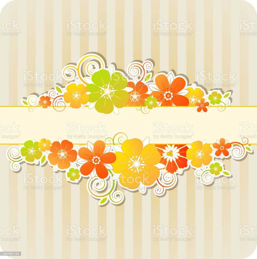 Background with flowers and strips royalty-free stock vector art