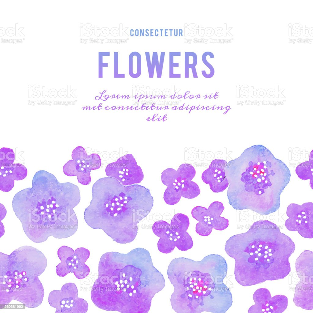 Background with flowers. Watercolor violets. vector art illustration