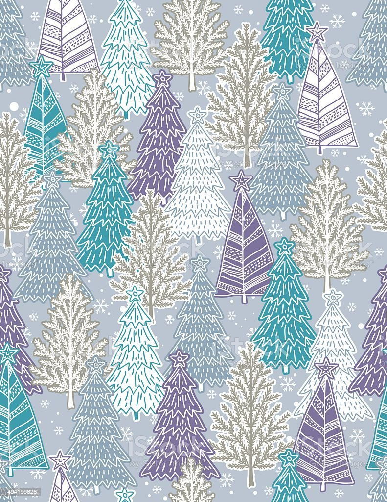 background with forest of christmas trees, vector vector art illustration