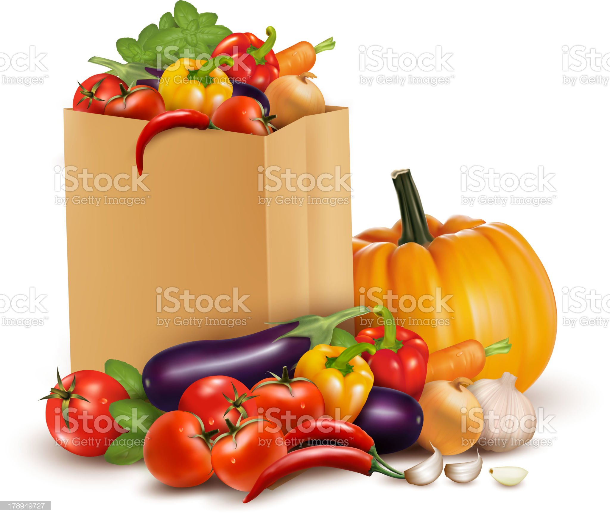 Background with fresh vegetables in paper bag. royalty-free stock vector art