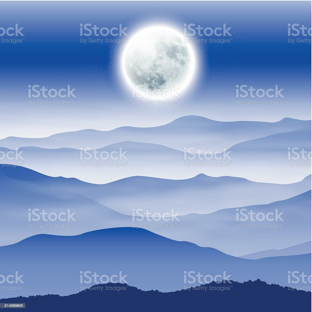 Background with fullmoon and mountains in the fog vector art illustration