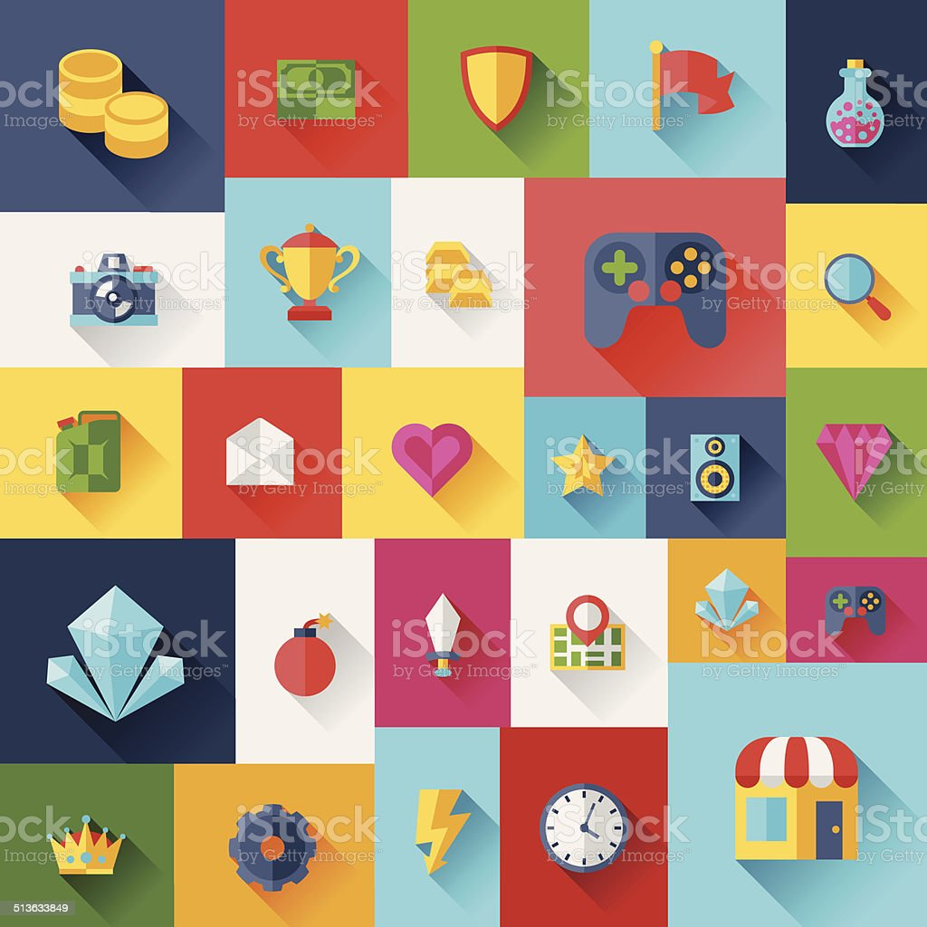 Background with game icons in flat design style. vector art illustration