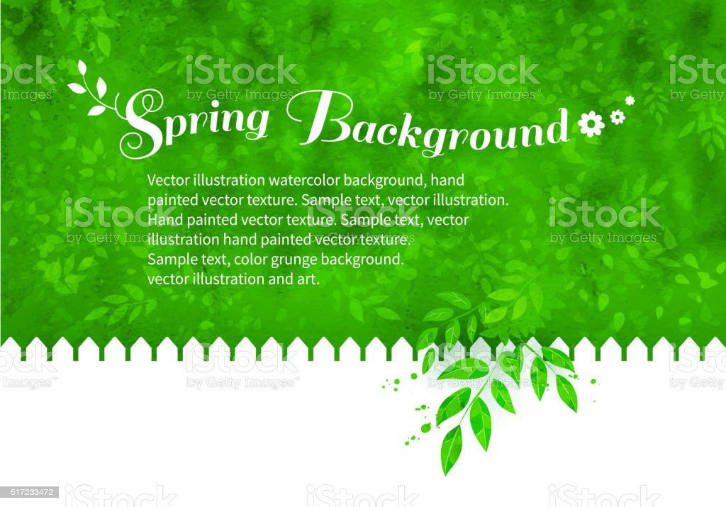 Background with garden white fence vector art illustration