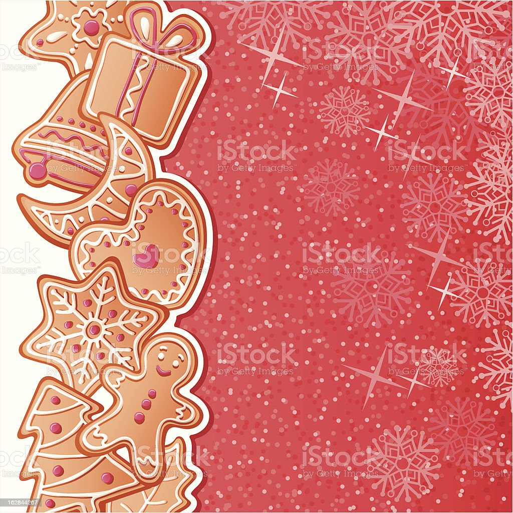 Background with gingerbreads vector art illustration