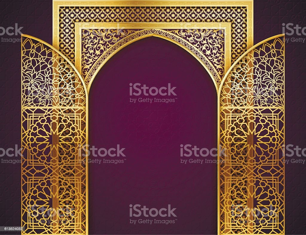 Background with Golden Arch vector art illustration