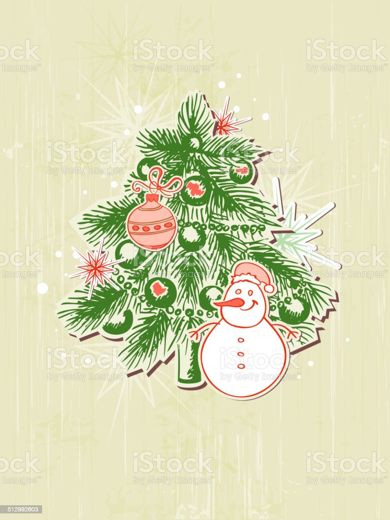 Background with green  paper fir and snowman vector art illustration