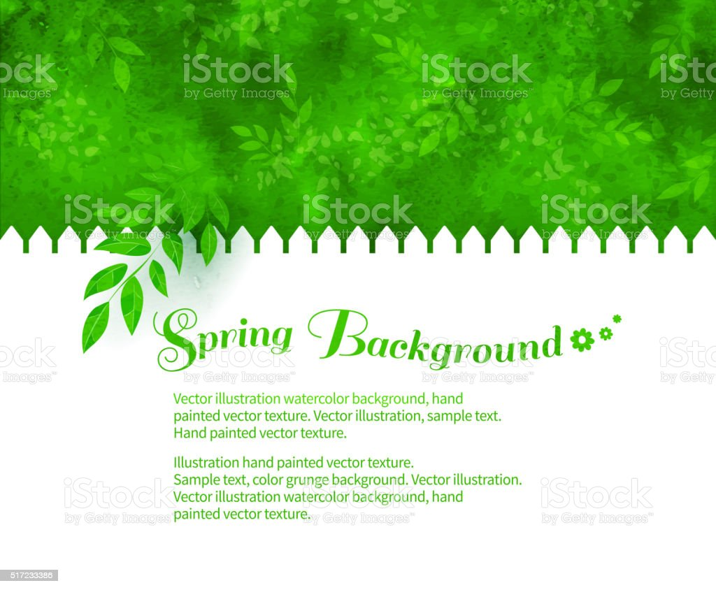 Background with green shrubs vector art illustration
