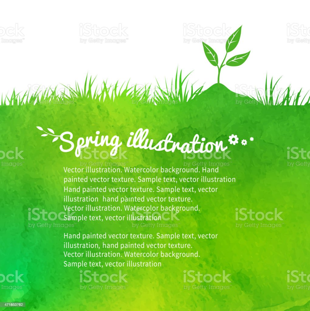 Background with growing sprout. vector art illustration