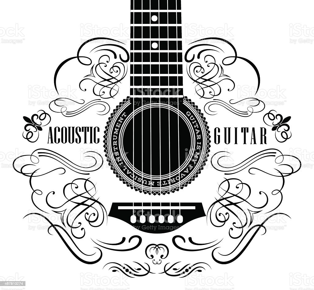 background with guitar vector art illustration