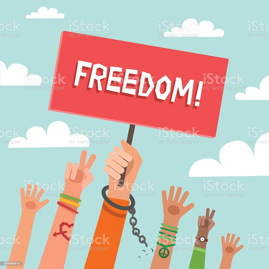 Background with hands of young people on demonstration and placard vector art illustration