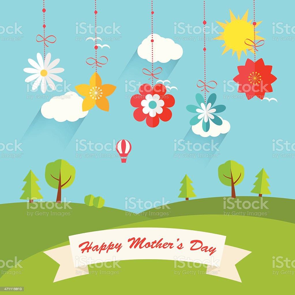 Background with hanging flowers  and landscape, vector illustration. vector art illustration