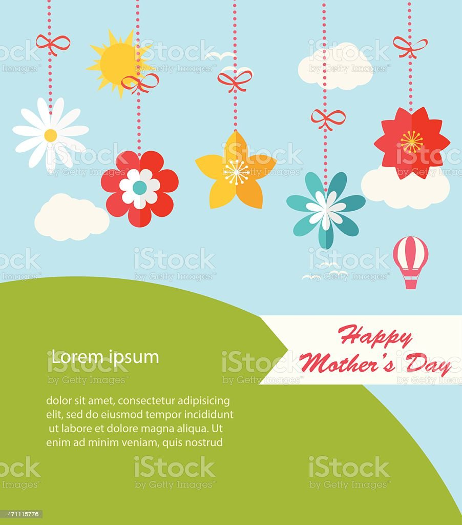 Background with hanging flowers, landscape and copy space, vector illustration. vector art illustration