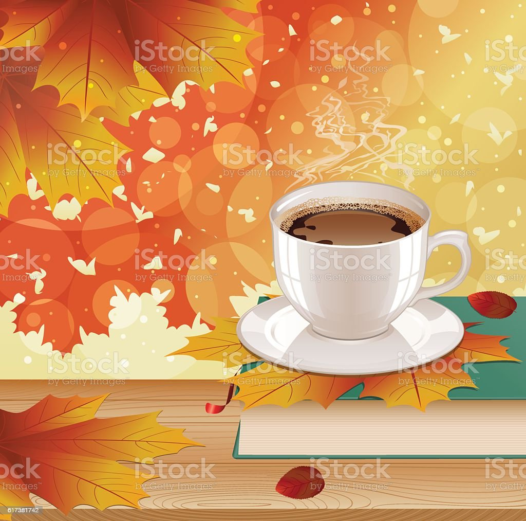 Background with hot coffee, book and autumn leaves. vector art illustration