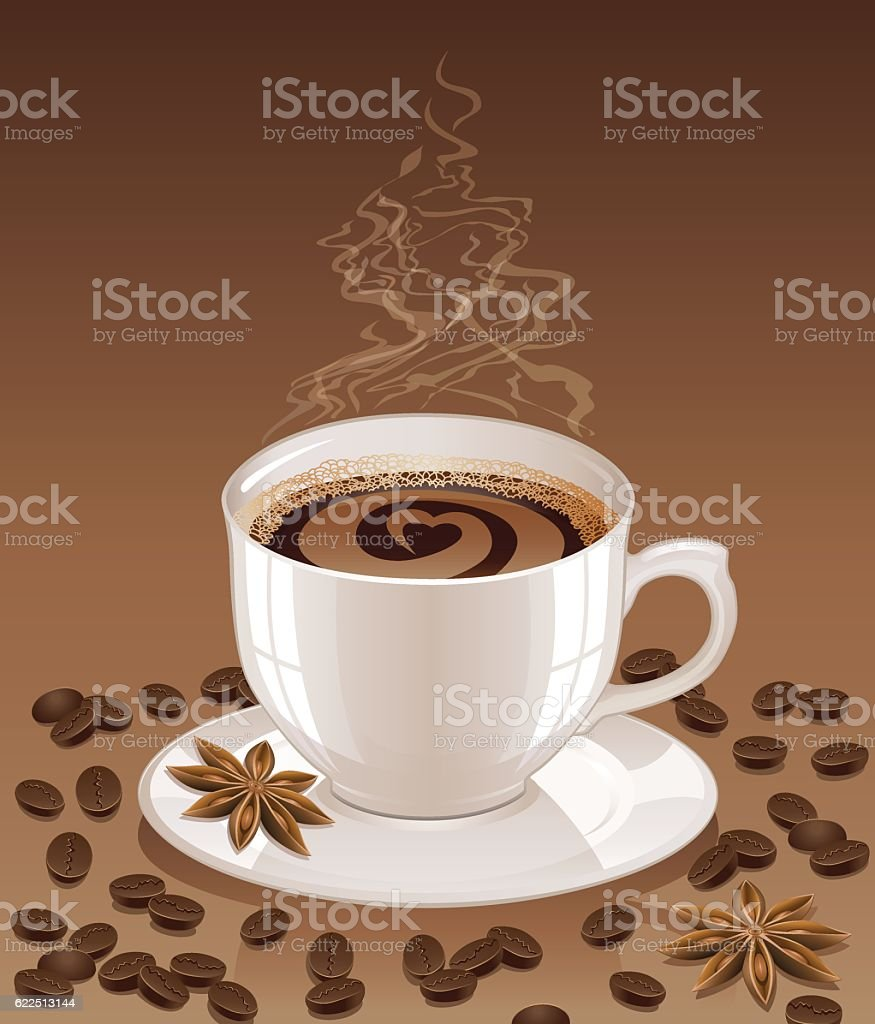 Background with hot coffee. vector art illustration