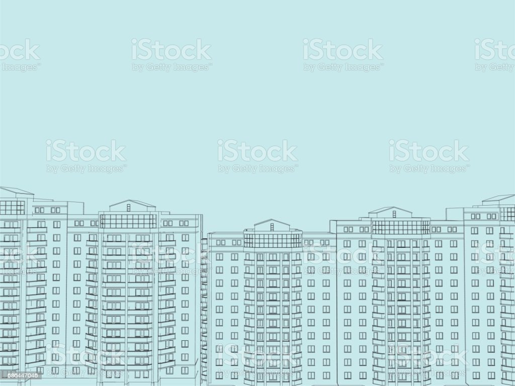 Background with houses vector art illustration