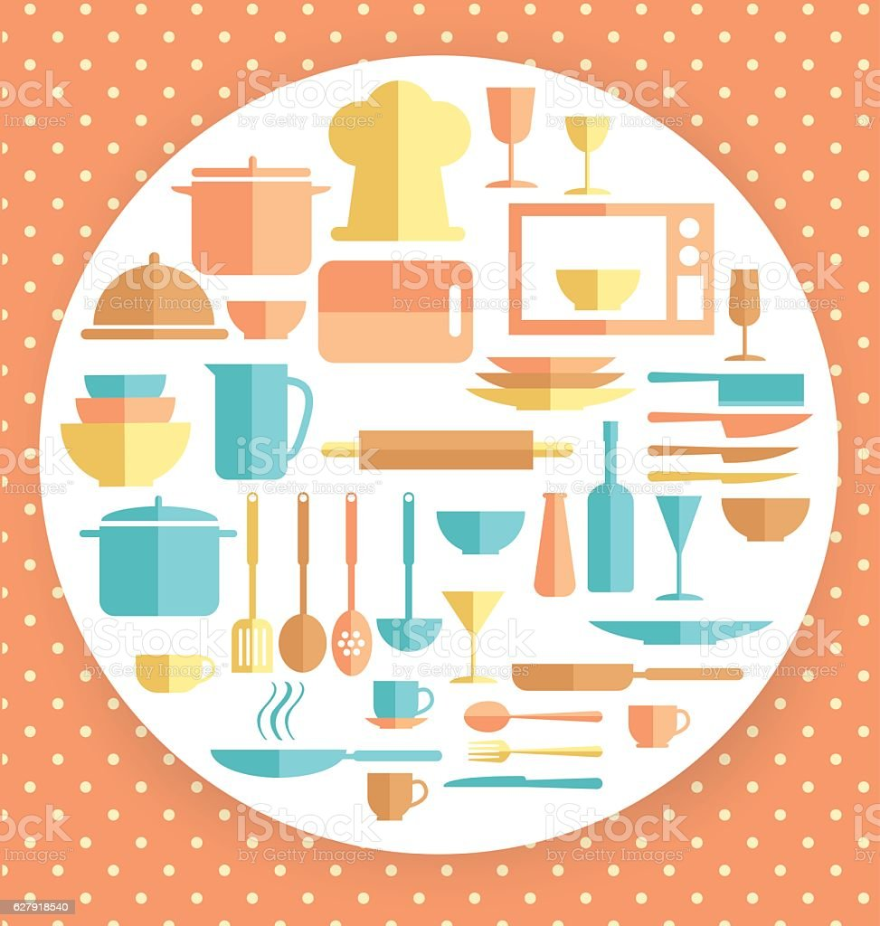 Restaurant Kitchen Illustration background with kitchen and restaurant utensils icons stock vector