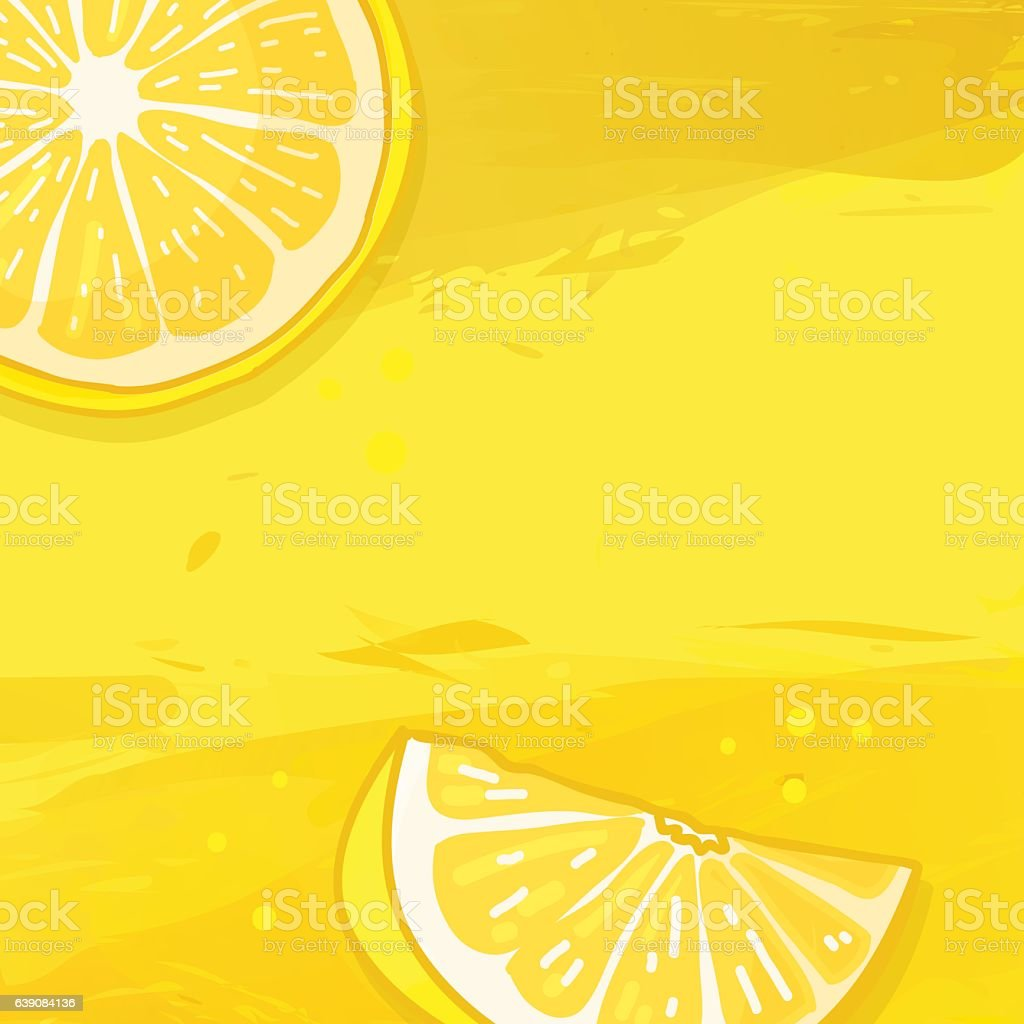 Background with lemon fruit. Watercolor texture vector art illustration
