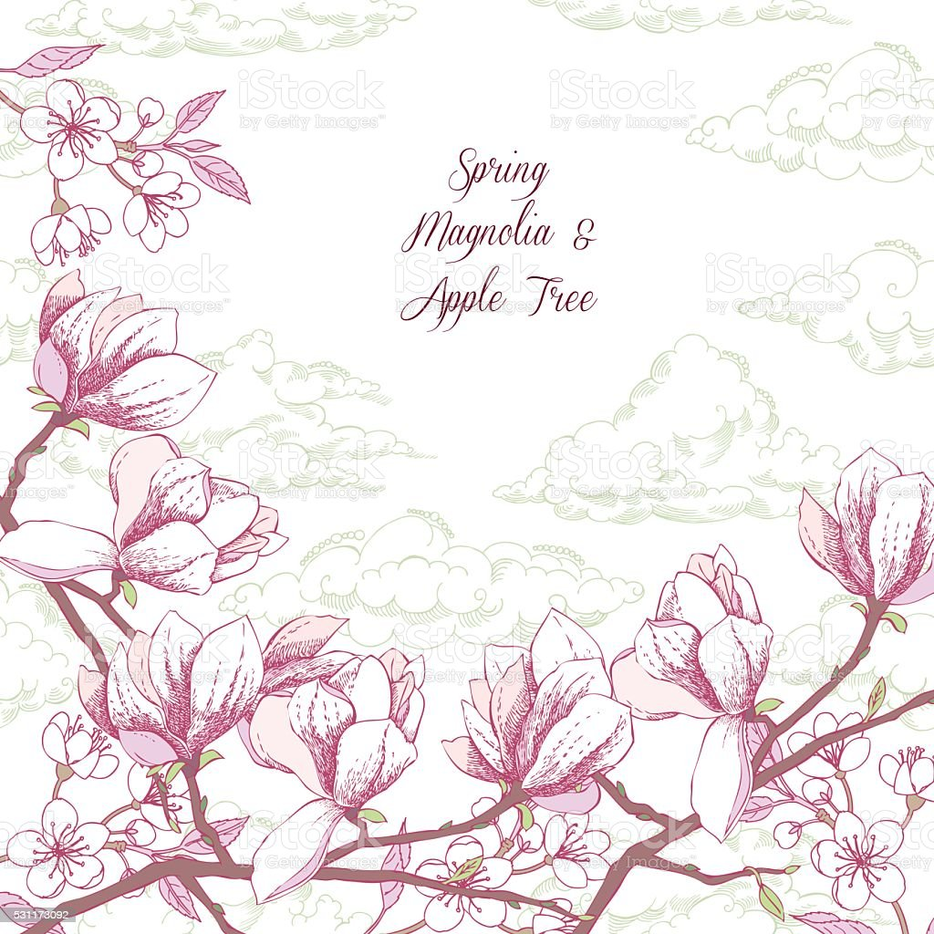 Background with magnolia and apple tree vector art illustration