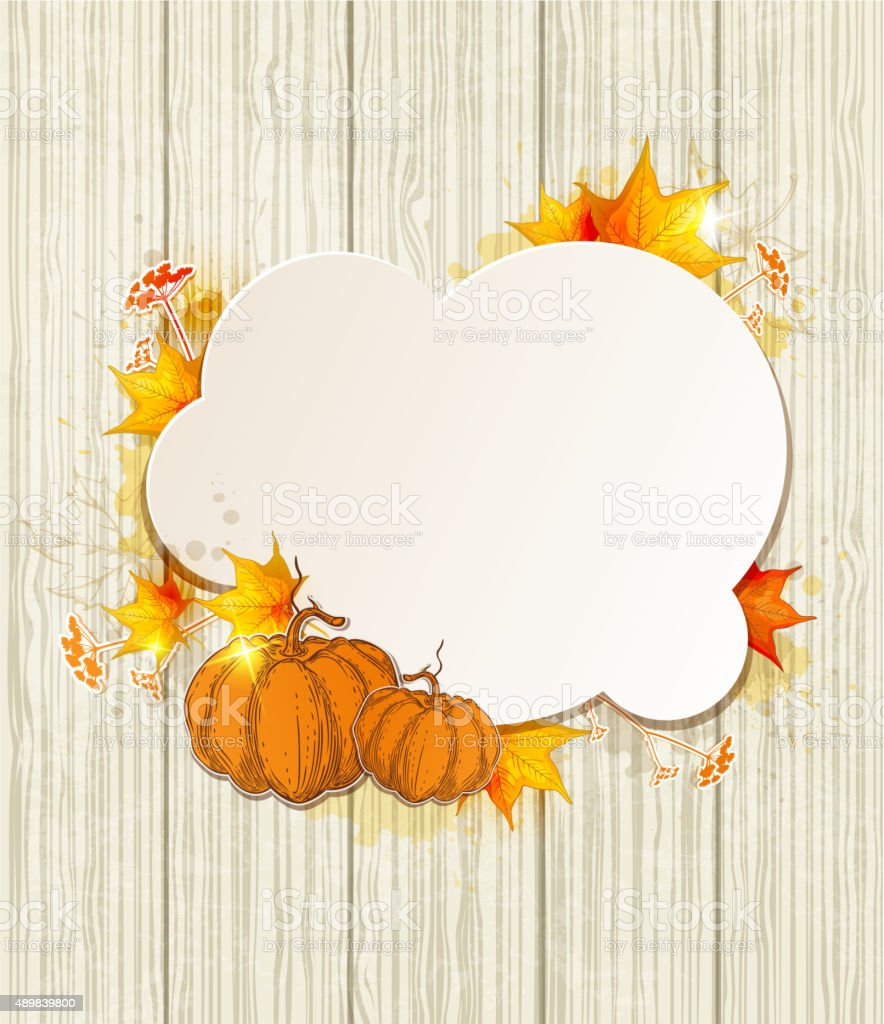 Background with maple leaves and pumpkin vector art illustration