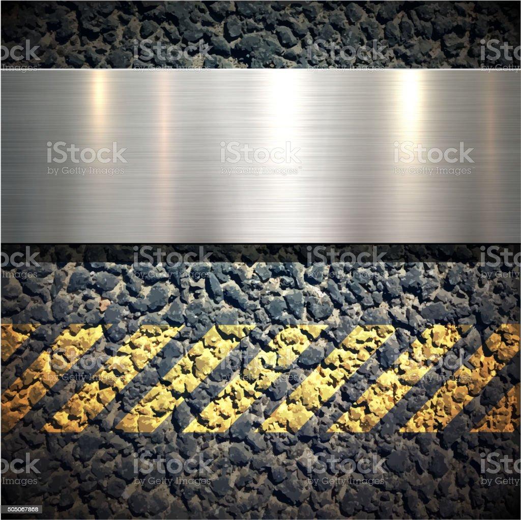 Background with metallic banner vector art illustration