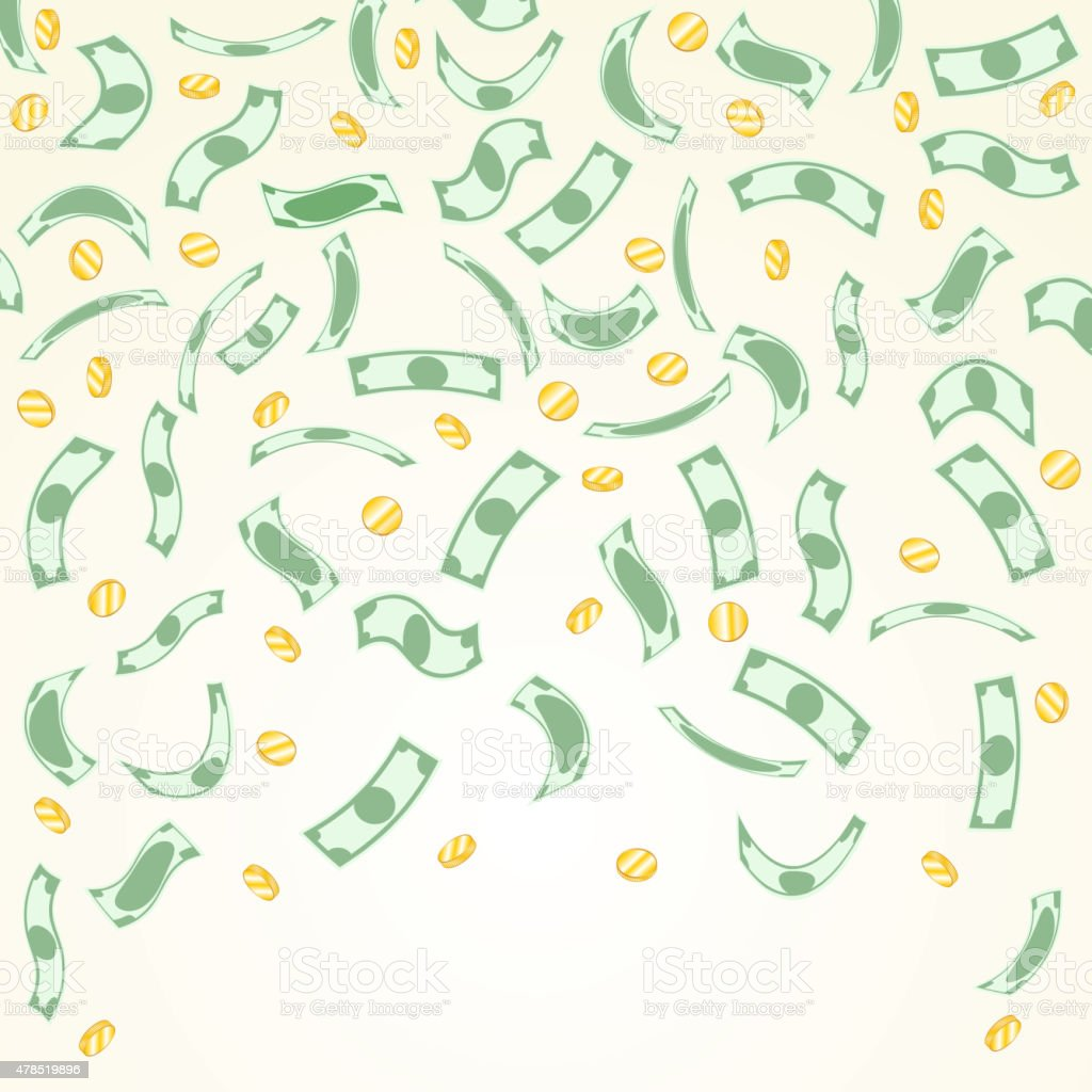 Background with money falling from above vector art illustration