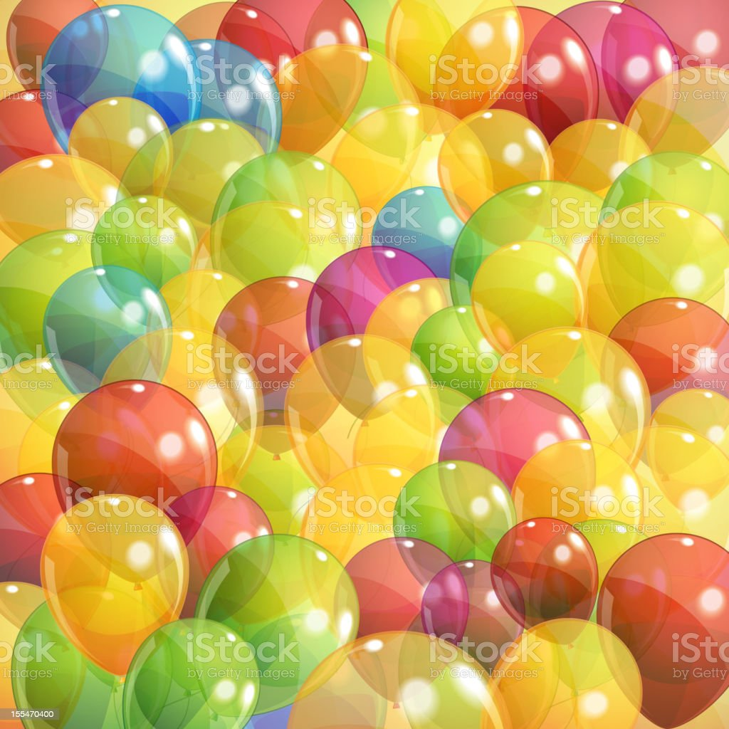 background with multicolored transparent balloons royalty-free stock vector art