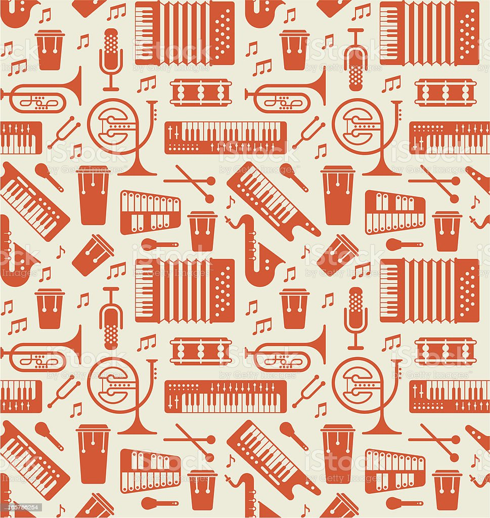 Background with music instruments vector art illustration