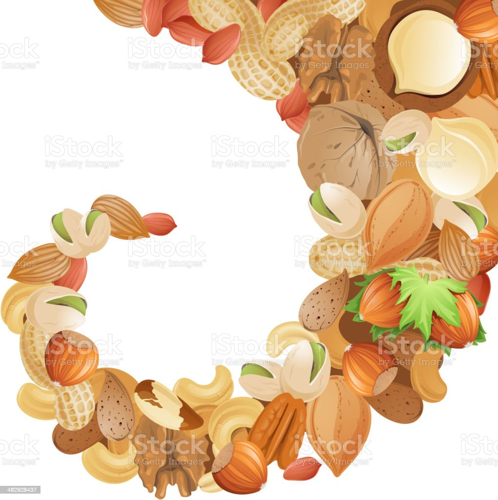 background with nuts royalty-free stock vector art