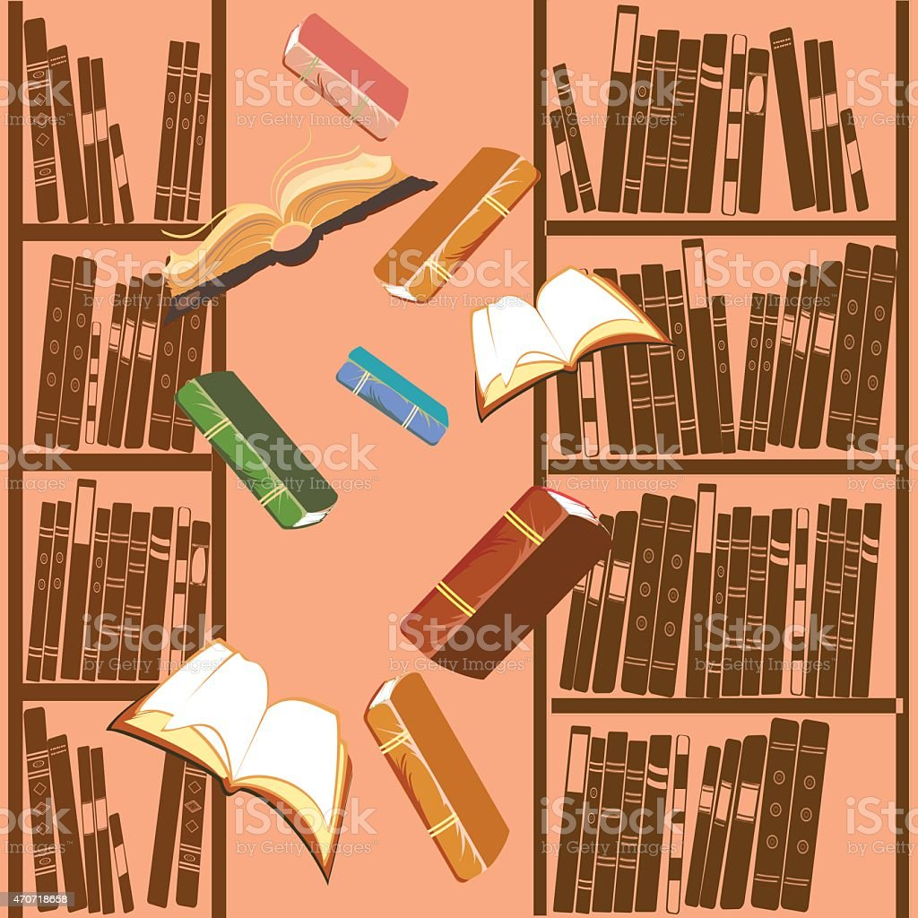 Background with open book and bookcase vector art illustration