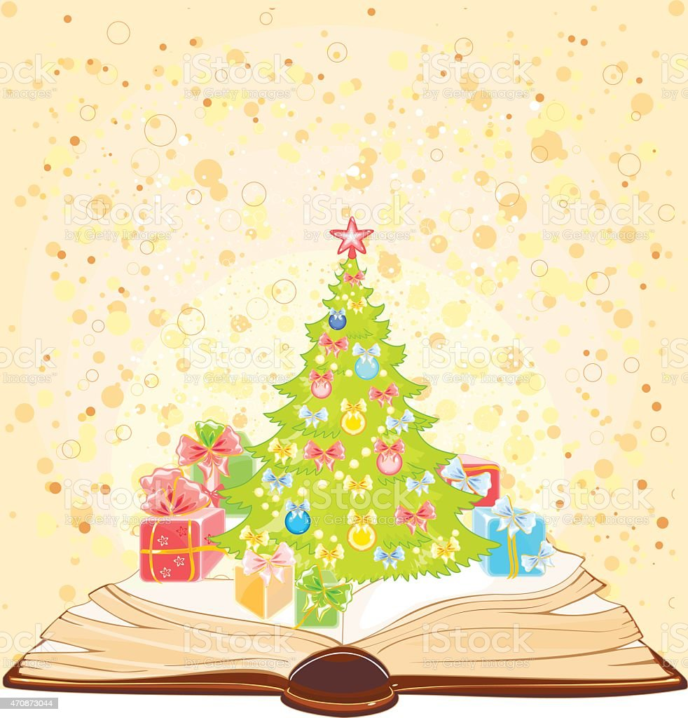 Background with open book and Christmas tree vector art illustration