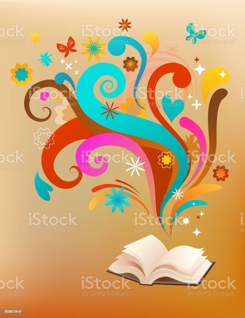 background with open book and design elements royalty-free stock vector art