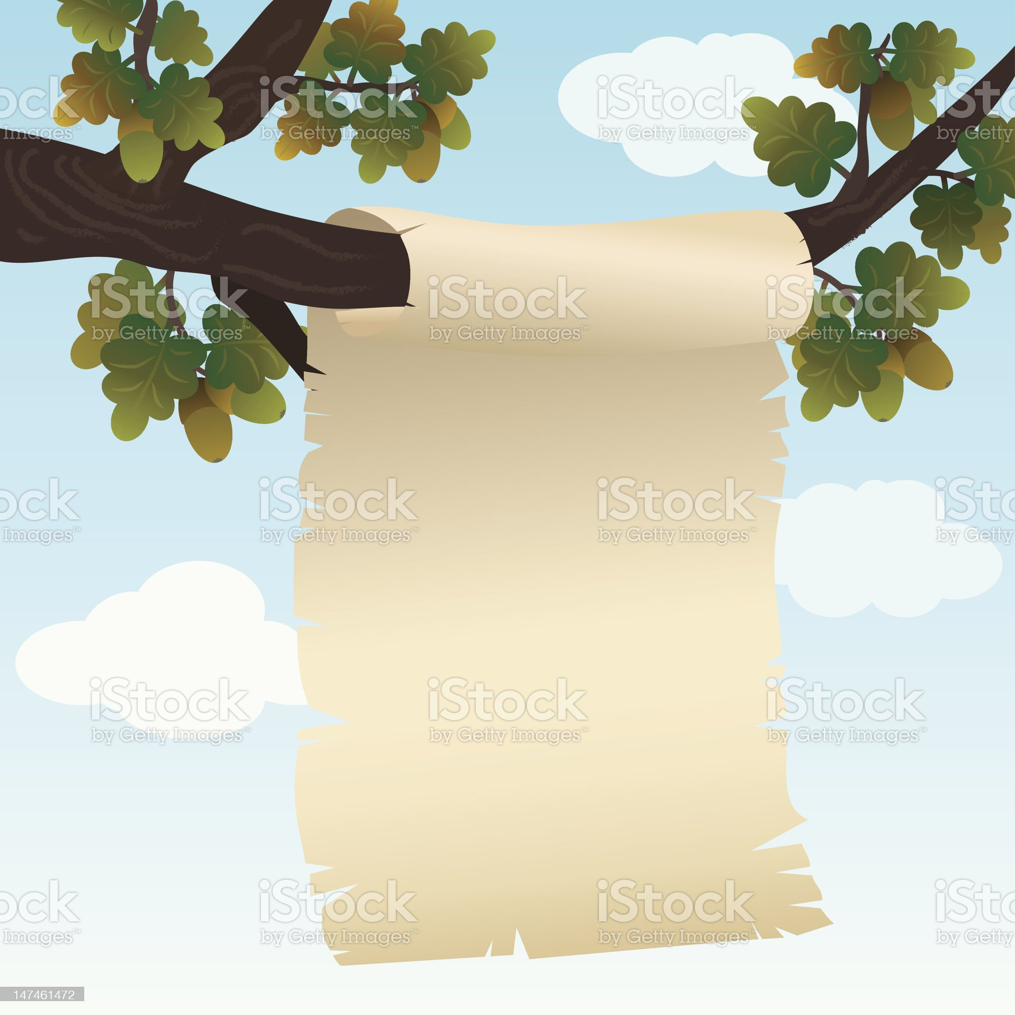 Background with paper hanging on a branch of oak. royalty-free stock vector art