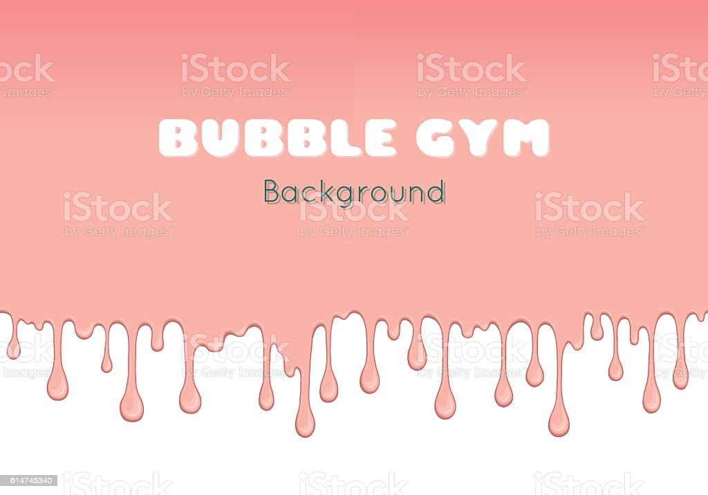 Background with pink bubble gum. vector art illustration